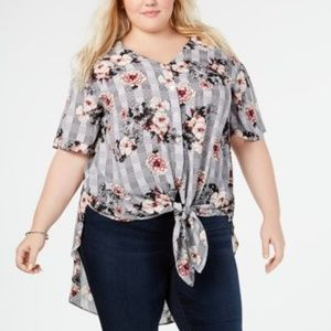 NY Collection Plus Size Printed High-Low Top